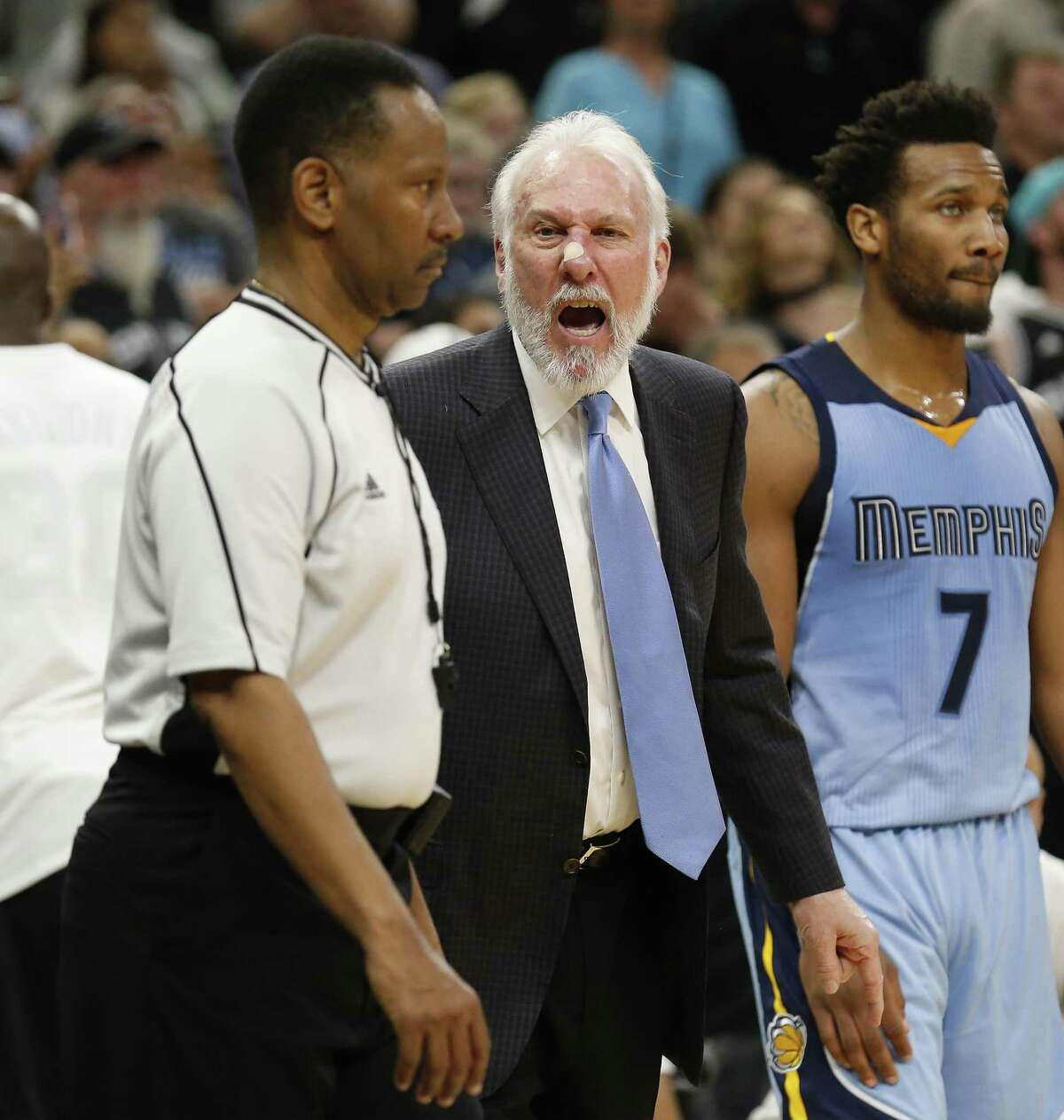 Spurs head coach Gregg Popovich reacts to Game official James Capers (19) during the Spurs game against the Memphis Grizzlies at the AT&T Center on Tuesday, Apr. 4, 2017. Spurs defeated the Grizzlies in overtime, 95-89.