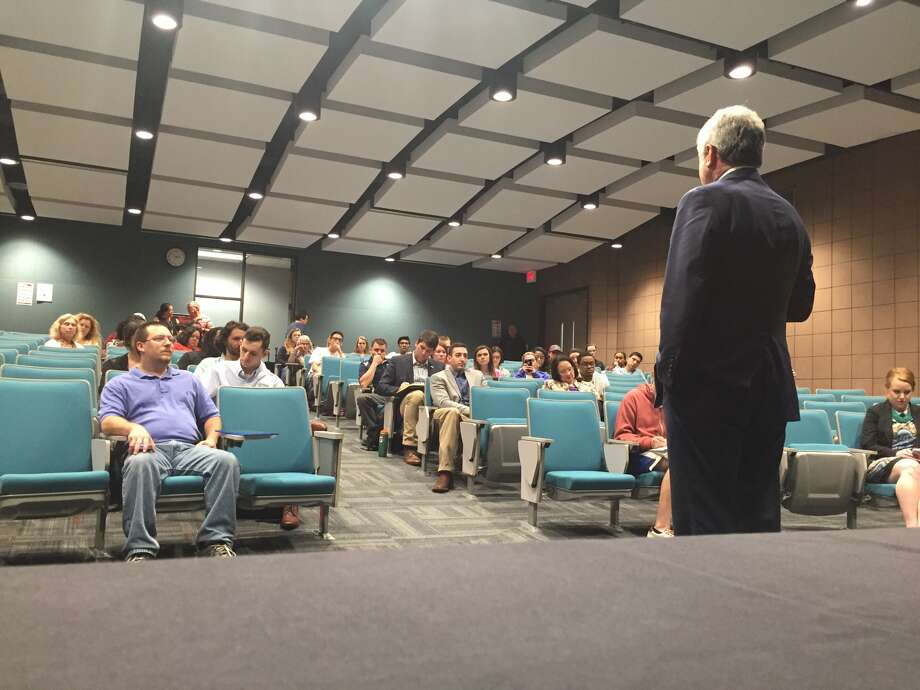 Rep. Mike McCaul speaks to students at Lone Star College-Tomball. (Lydia DePillis/Houston Chronicle)