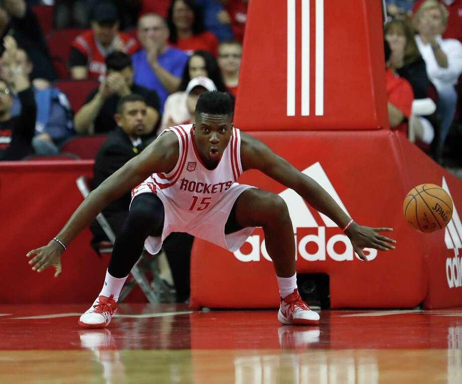 Houston Rockets center Clint Capela (15) reacts after dunking the ball during the second half of an NBA basketball game at the Toyota Center, Wednesday, April 12, 2017, in Houston. ( Karen Warren / Houston Chronicle ) Photo: Karen Warren, Staff Photographer / 2017 Houston Chronicle