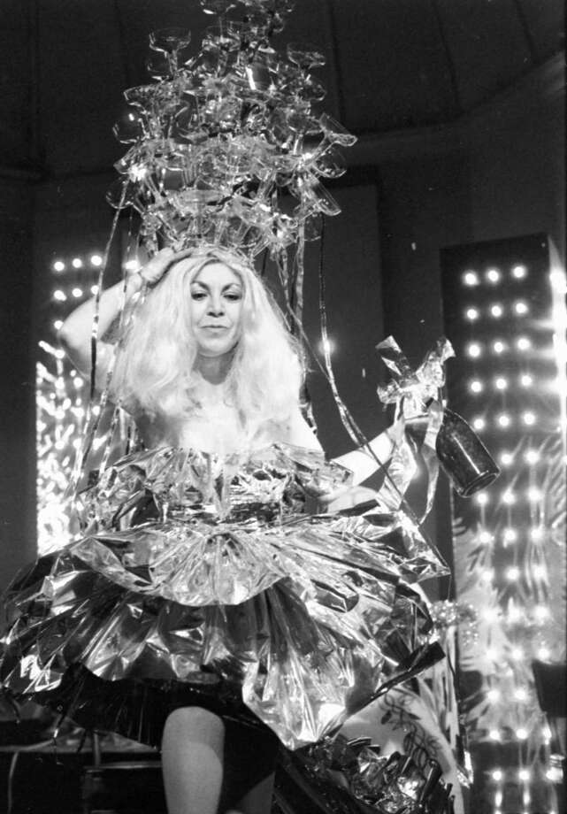 Anne Alexander as the Queen of the Social Lions, designed by Brad Braune, Court of the Zodiac, 1982. Photo: Courtesy Trinity University Press