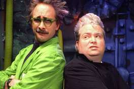 """Dr. Clayton Forrester (Trace Beaulieau, left) and TV's Frank (Frank Conniff, right), were two of the first """"Mystery Science Theater 3000"""" baddies to beam all those bad movies to the Satellite of Love."""