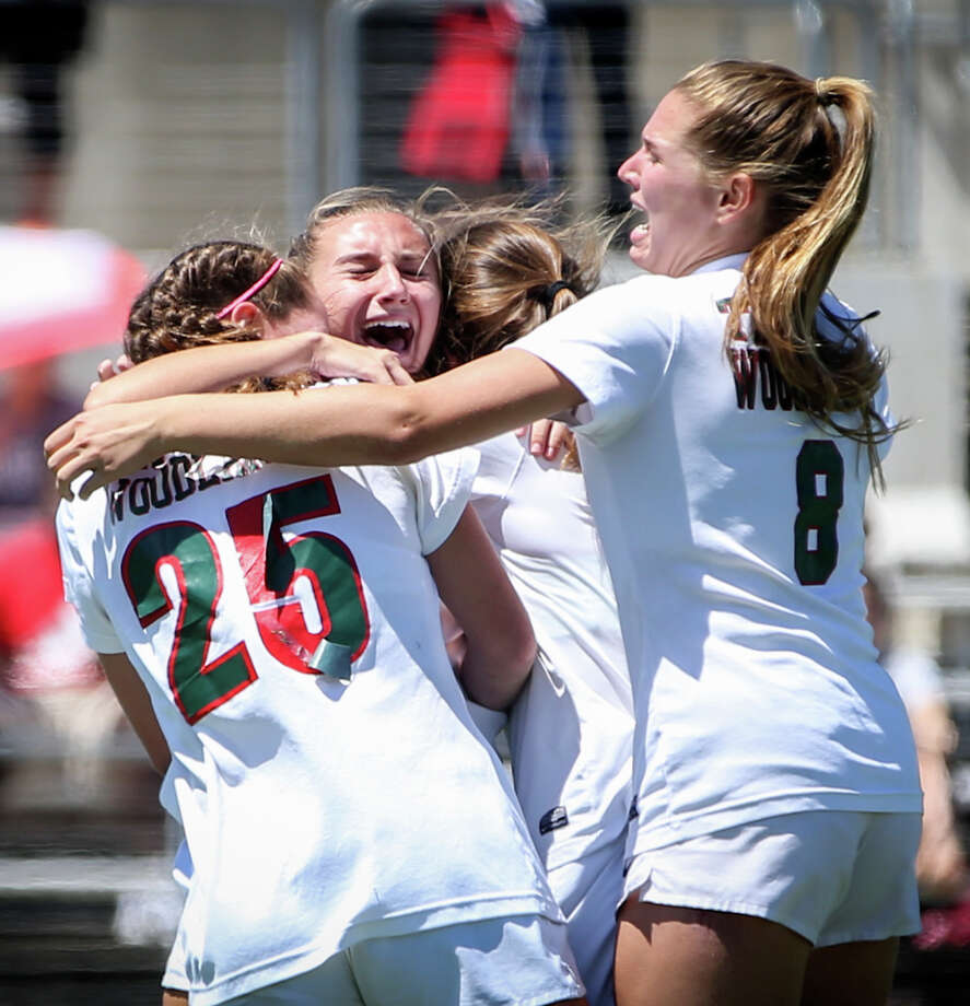 c2cf30f85 The Woodlands Lady Highlanders celebrate during the varsity girls soccer  game against Klein on Friday