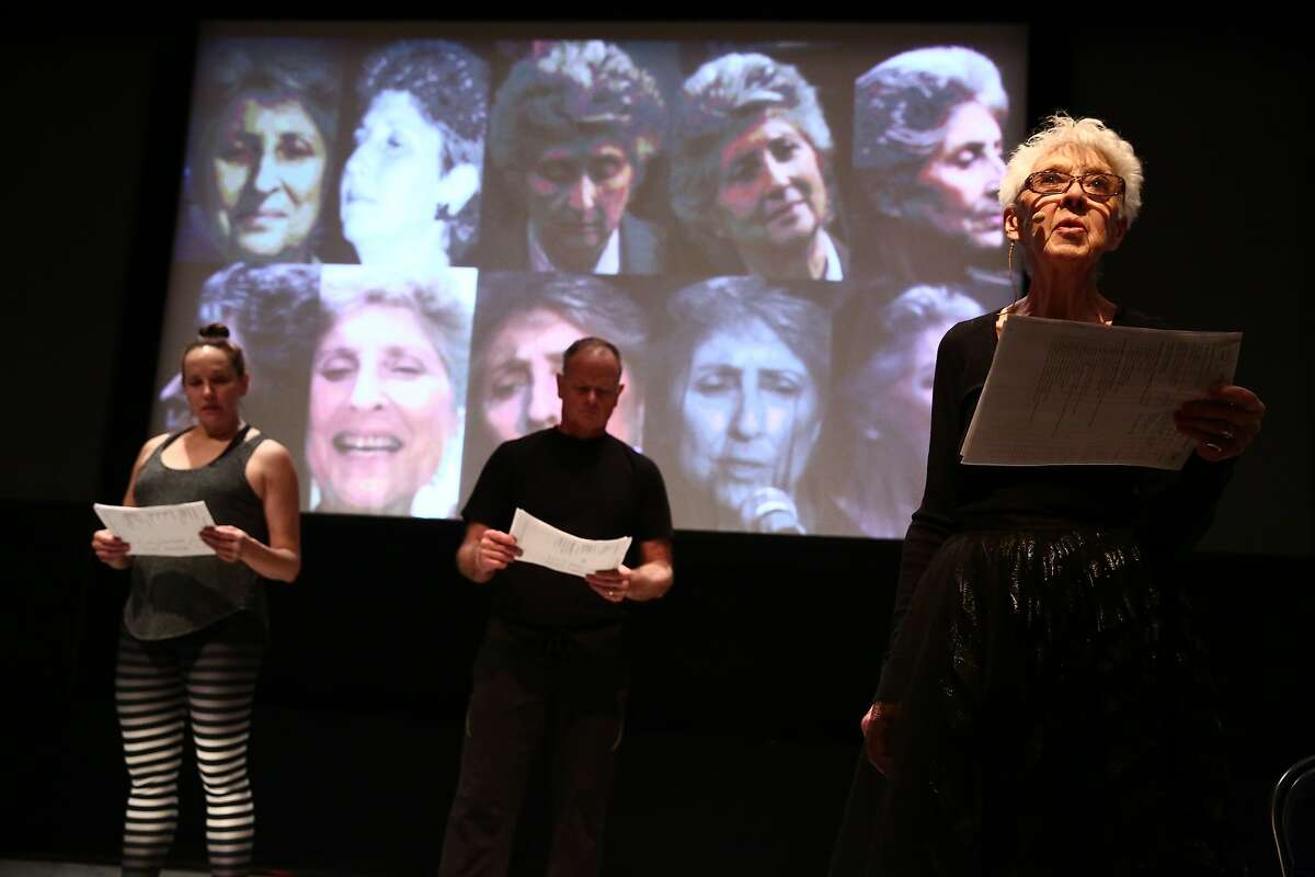 """From left, Karen Graham, Scott Cunningham and Valda Setterfield perform in the world premiere of David Gordon's """"Live Archiveography'""""at ODC Theater. Photo: Paula Court"""