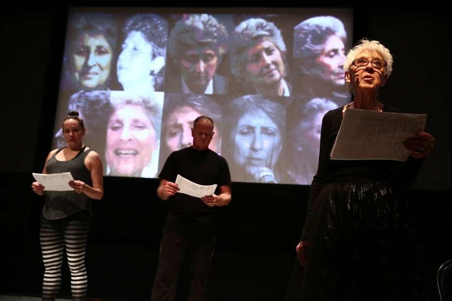 "Karen Graham (left), Scott Cunningham and Valda Setterfield perform in the world premiere of David Gordon's ""Live Archiveography."" Photo: Paula Court"