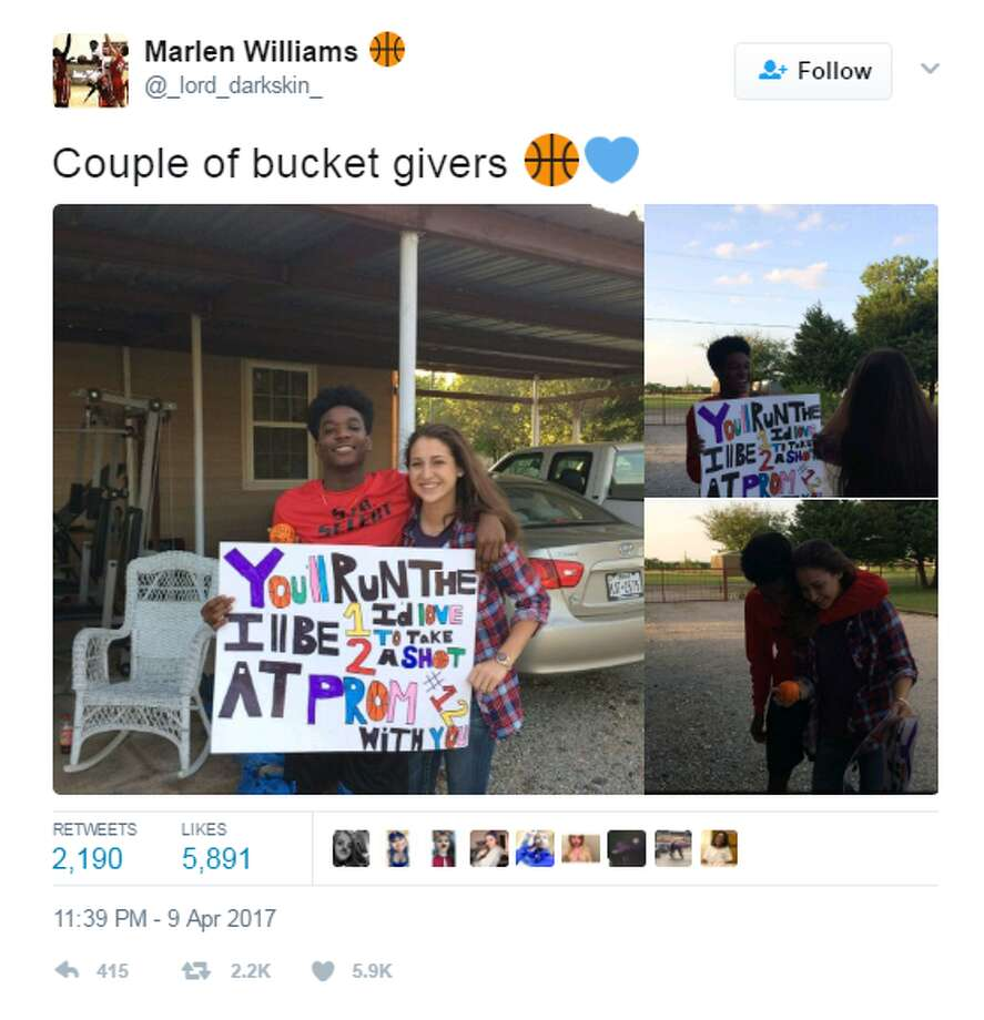 """Couple of bucket givers,"" Marlen Williams tweeted on April 9. Click through to see how the internet reacted to the puzzling prom message. Photo: Twitter.com"