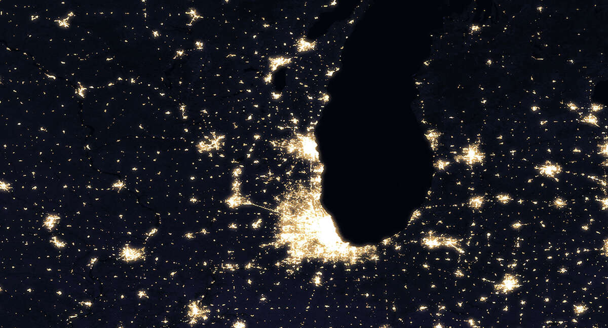 NASA has released stunning new photos of the Earth taken from space. Pictured here is the city of Chicago.