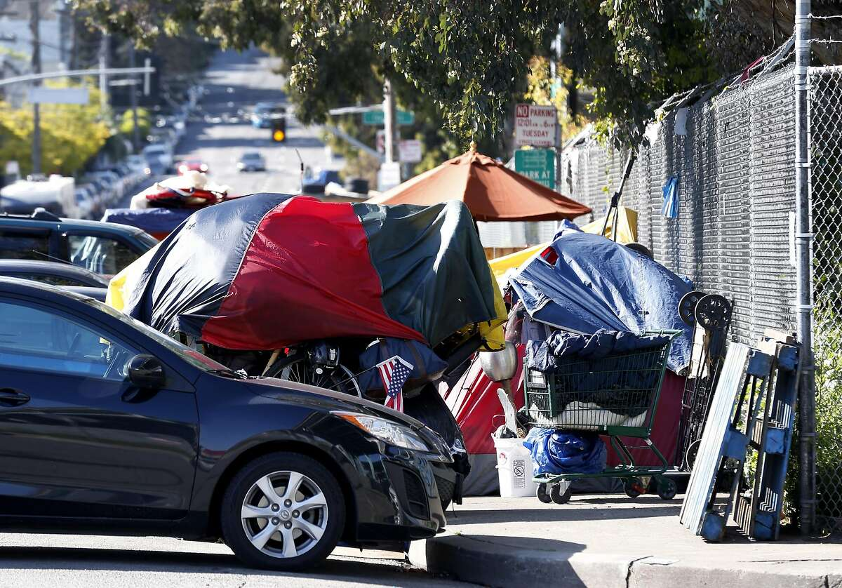 A homeless encampment is established at Vermont and 15th streets in San Francisco, Calif. on Friday, April 14, 2017.
