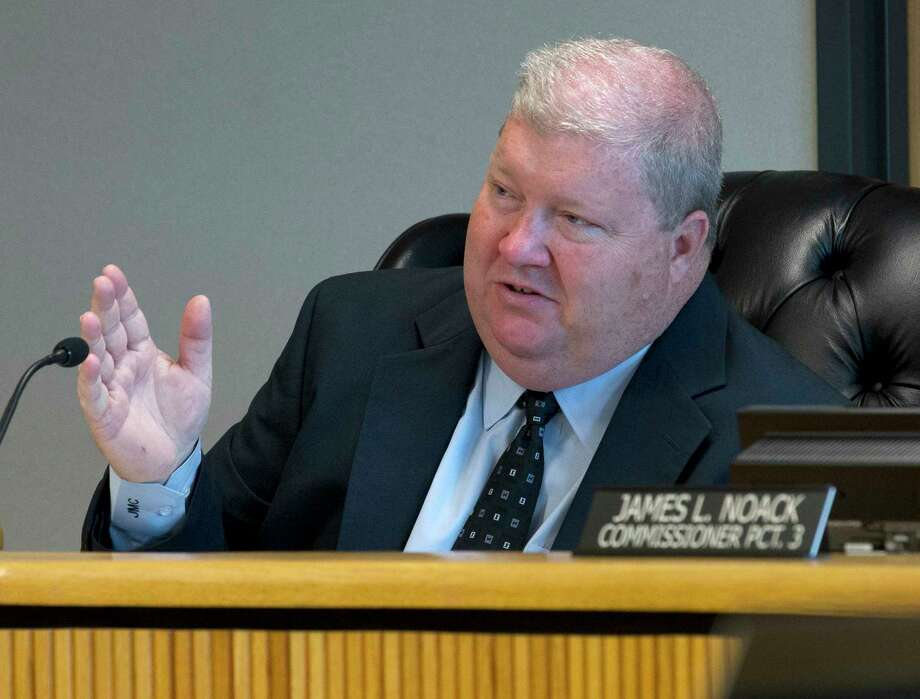 Montgomery County Precinct 4 Commissioner Jim Clark asks a question to Sheriff Rand Henderson during Commissioners Court at the Alan B. Sadler Commissioners Court Building, Tuesday, April 11, 2017, in Conroe. Photo: Jason Fochtman, Staff Photographer / © 2017 Houston Chronicle