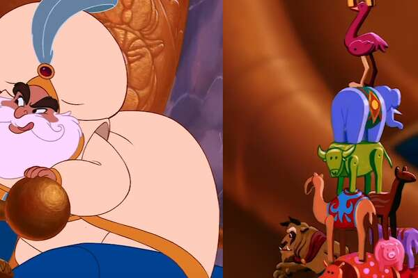 In Aladdin, Jasmine's father stacks figurines, one of which is from Beauty and the Beast.
