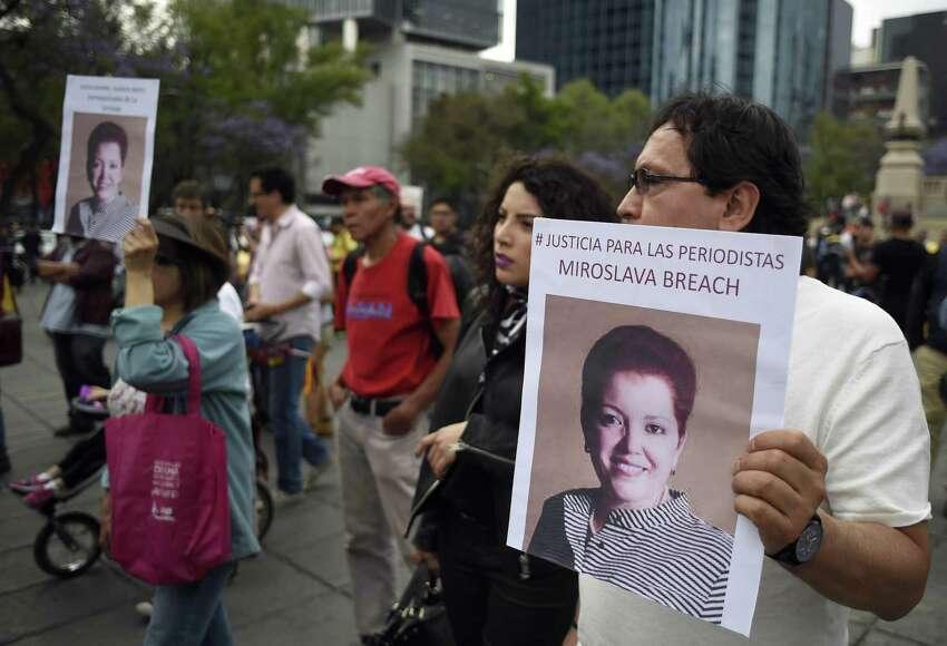 Miroslava Breach Demonstrators protest last month's murder of journalist Miroslava Breach of La Jornada newspaper. Breach, who investigated drug gangs, was murdered in Chihuahua in front of her home.