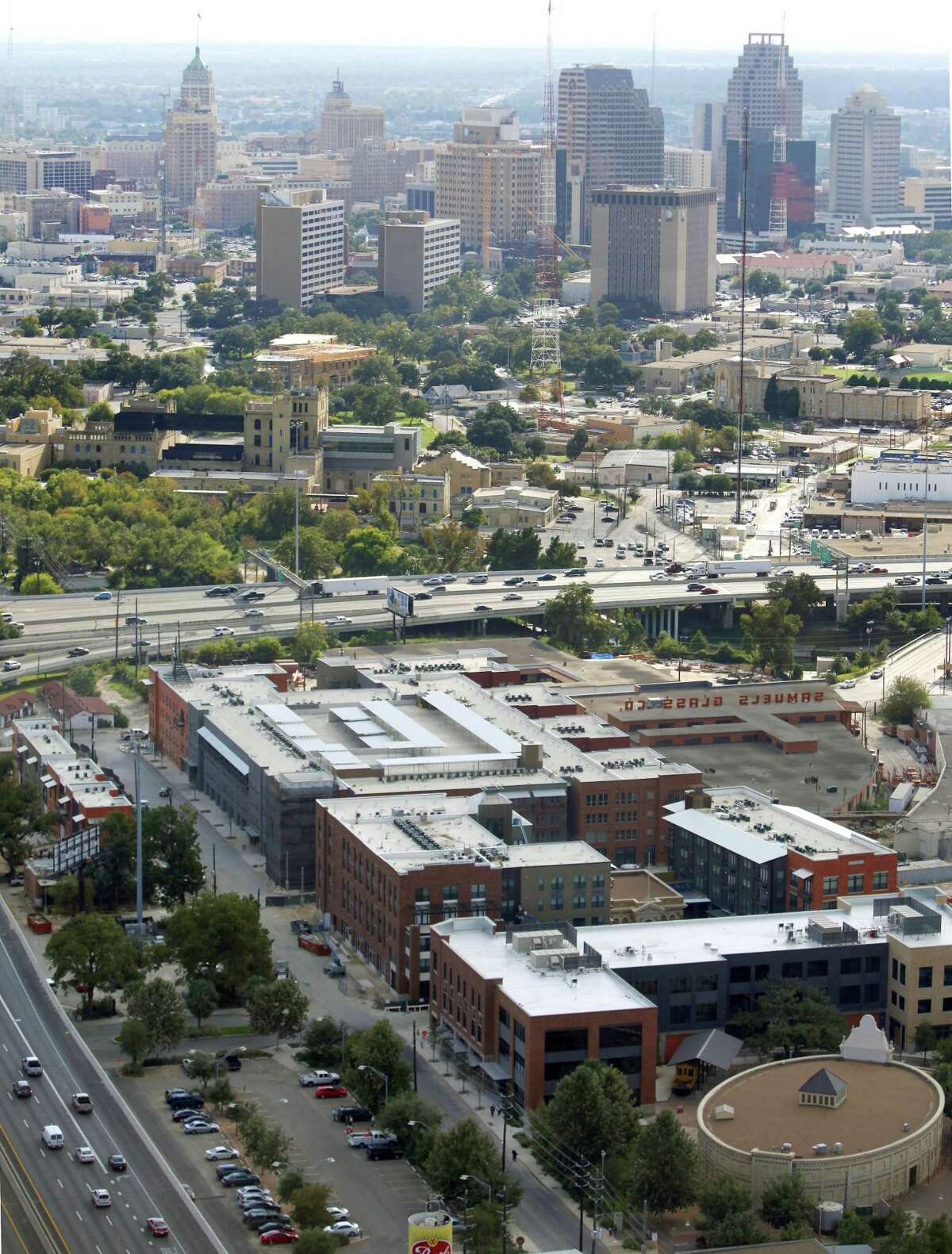 The Can Plant apartment complex at the Pearl is seen in the foreground of this 2012 aerial photo. This year's municipal bond measures contains improvements to the Broadway corridor. In fact, downtown improvements generally constitute 21 percent of the bond fund proposed.