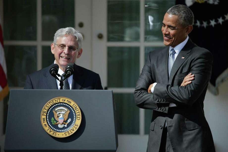 """Judge Merrick Garland speaks after being introduced by President Barack Obama on March 16, 2016. Republicans blocked the nomination, but a reader says Democrats are wrong to claim his seat on the court was """"stolen."""" Photo: Chip Somodevilla /Getty Images / 2016 Getty Images"""