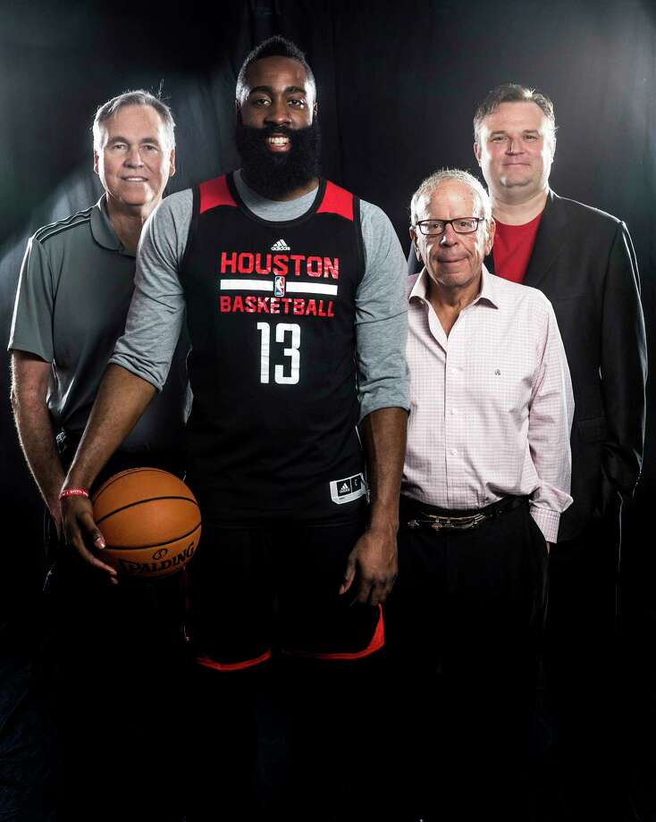 Houston Rockets owner Leslie Alexander, GM Daryl Morey, Coach Mike D'Antoni and James Harden pose for a photo Monday, March 27, 2017 in Houston. ( Michael Ciaglo / Houston Chronicle) Photo: Michael Ciaglo, Staff / Michael Ciaglo