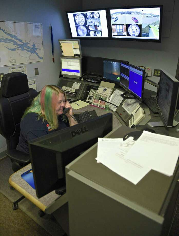 Stephanie Kulowiec, a dispatcher with the Brookfield Police Department, on Friday afternoon, April 14, 2017, in Brookfield, Conn. Photo: H John Voorhees III / Hearst Connecticut Media / The News-Times