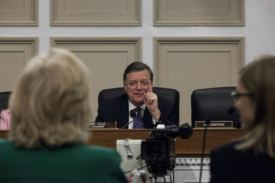 House subcommittee Chairman Tom Cole, R-Okla., speaks during hearings on President Donald Trump's first budget attended by Patricia de Stacy Harrison, president and CEO of the Corporation for Public Broadcasting on March 28. The 2018 budget calls for the elimination of federal funding for CPB, a private, nonprofit organization created by Congress whose annual appropriation is around $445 million. CPB in turn funds programming and distributes grants to public television and radio stations to help defray operational costs. (Photo by Zach Gibson/Getty Images) Photo: Zach Gibson, Stringer / 2017 Getty Images