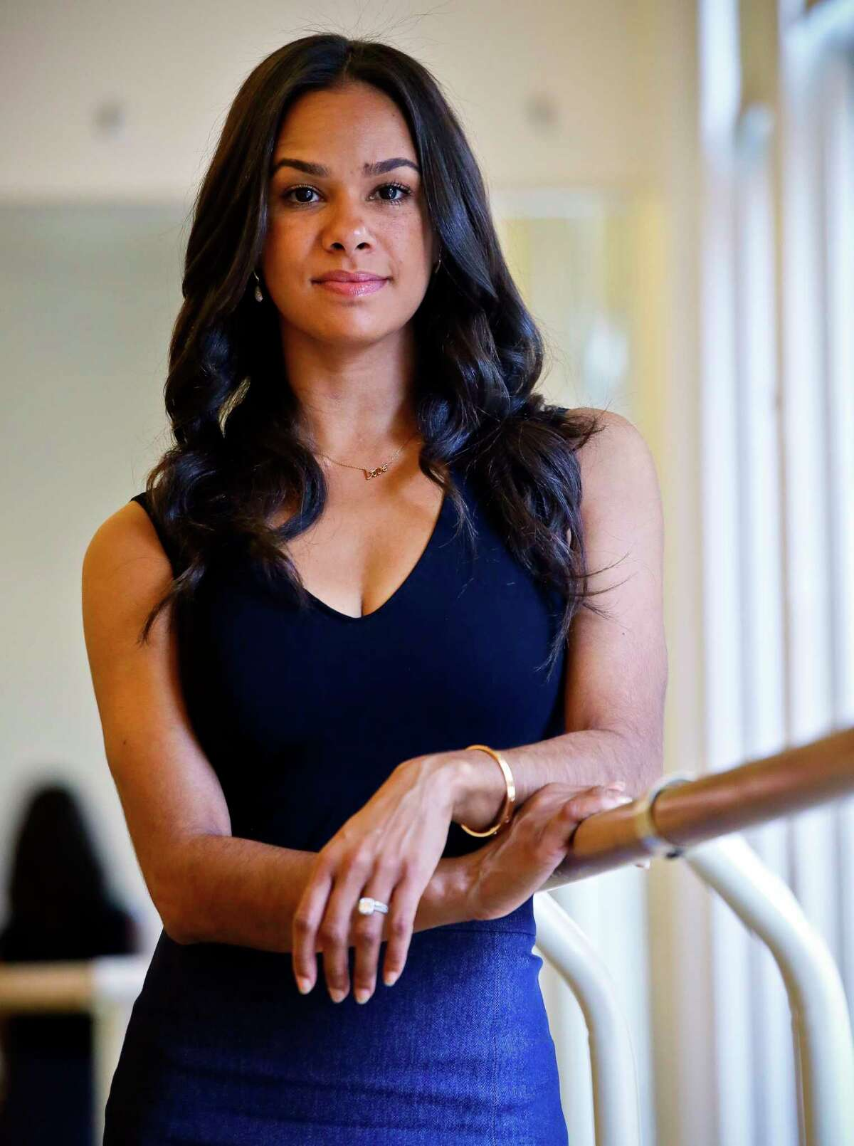 """In this March 21, 2017 photo, Misty Copeland, first African-American female principal dancer with the American Ballet Theatre, poses during an interview at Steps on Broadway dance school in New York. Copeland's book, """"Ballerina Body: Dancing and Eating Your Way to a Leaner, Stronger, and More Graceful You,"""" compiles her advice for healthy living. (AP Photo/Bebeto Matthews)"""