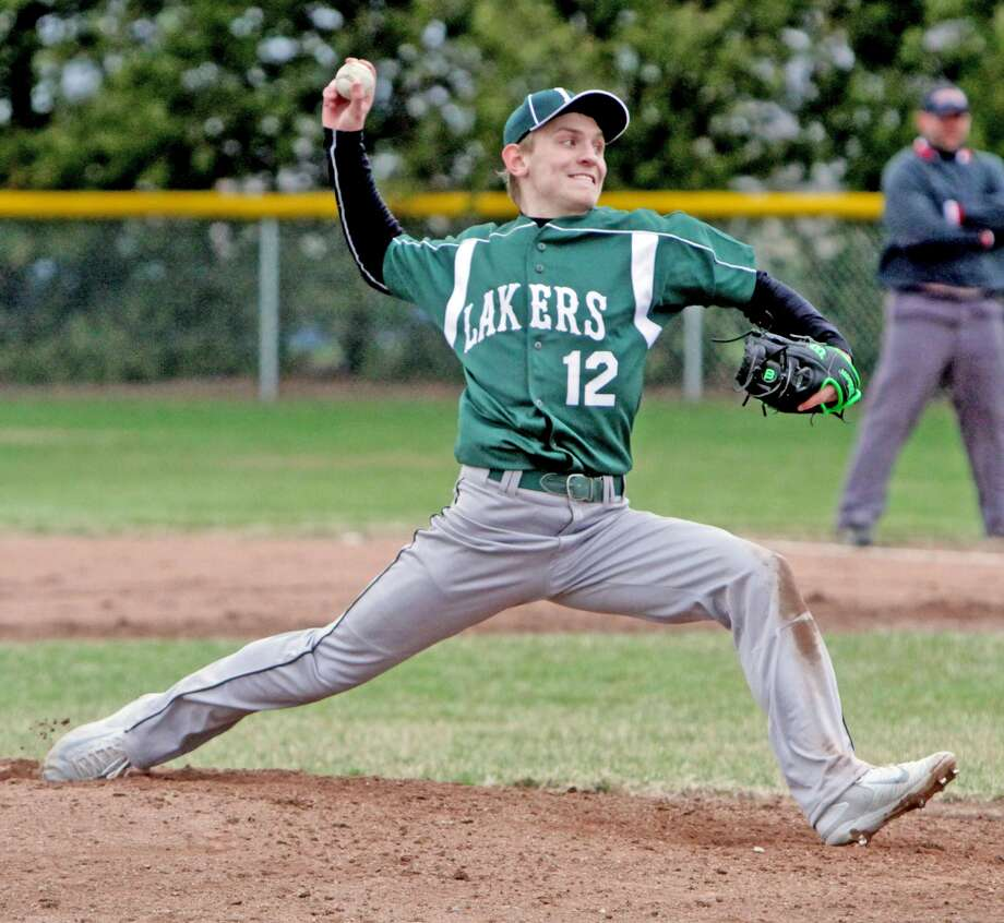 Brennan Wissner pitches for EPBP during a game with Harbor Beach, Tuesday. Under new rules, high school pitchers are limited to a maximum of 105 pitches in a game and then must have three days rest.