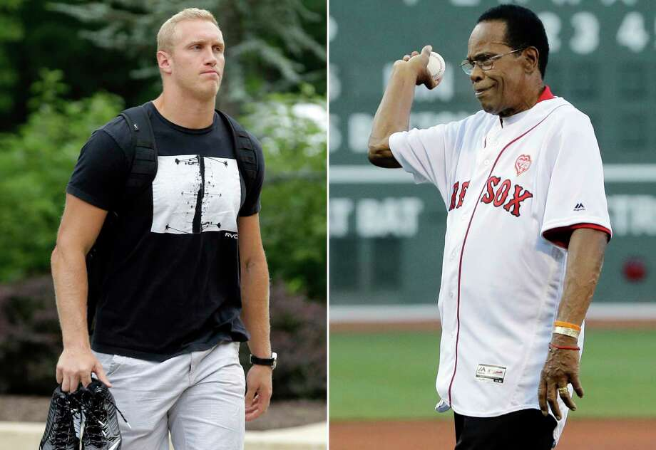 "FILE - At left, in a July 29, 2015, file photo, Baltimore Ravens tight end Konrad Reuland walks into the team's training facility, in Owings Mills, Md. At right, in a July 21, 2016, file photo, Minnesota Twins great Rod Carew throws out a ceremonial first pitch before a baseball game between the Boston Red Sox and the Minnesota Twins at Fenway Park, in Boston. Baseball Hall of Famer Rod Carew received a new heart and kidney from the late NFL player Konrad Reuland in what is believed to be the first such transplant involving pro athletes. The only details the Carew family received before the transplant were that the donor was ""male, late 20s, local, exceptionally healthy."" The Reulands were told the recipient was a 71-year-old man from Orange County. (AP Photo/File) Photo: SF / AP"