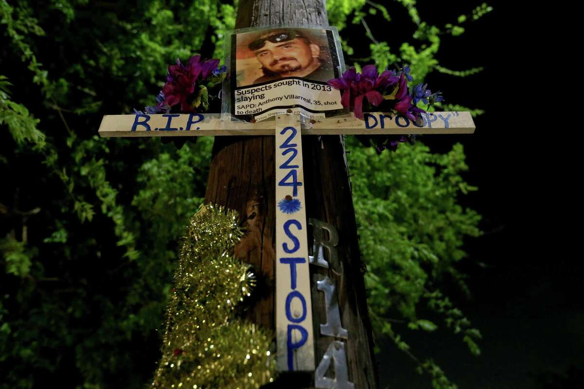 A view of the memorial for Anthony Villarreal at the intersection of Commercial Avenue and Crystal Street where he was killed Feb. 19, 2013.