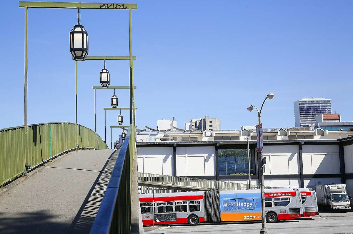 The 38 Geary bus is seen on a bridge over Geary Blvd. leading to Japantown on Friday, April 14, 2017, in San Francisco, Calif.