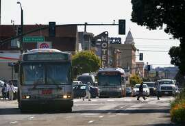The 38 Geary buses on Geary Blvd at Park Presidio on Friday, April 14, 2017, in San Francisco, Calif.