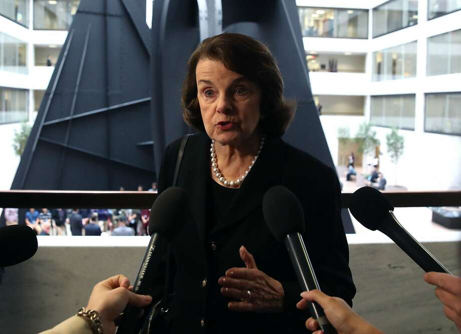 Sen. Dianne Feinstein, D-Calif., speaks to the media before entering a Senate Select Committee on Intelligence meeting at the U.S. Capitol on April 4. Photo: Mark Wilson, Getty Images