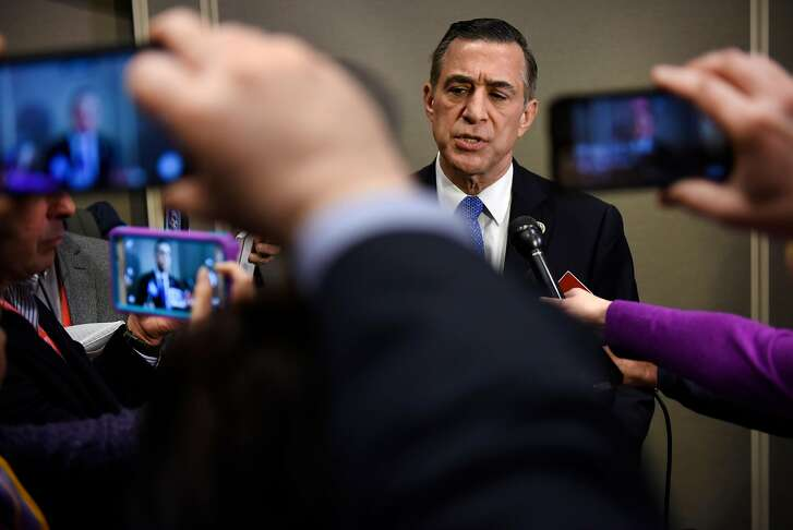 Congressman Darrell Issa speaks with members of the media following his speech during the California Republican Party's 2017 Organizing Convention in Sacramento, CA, on Saturday February 25, 2017.