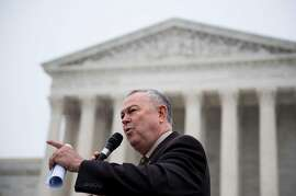 UNITED STATES - DECEMBER 9: Rep. Dana Rohrabacher, R-Calif., speaks during a rally outside of the U.S. Supreme Court held by the Asian American Coalition for Education against race-based affirmative action policies at the University of Texas on Wednesday, Dec. 9, 2015. The court heard oral arguments in the Fisher v. University of Texas at Austin case. (Photo By Bill Clark/CQ Roll Call)