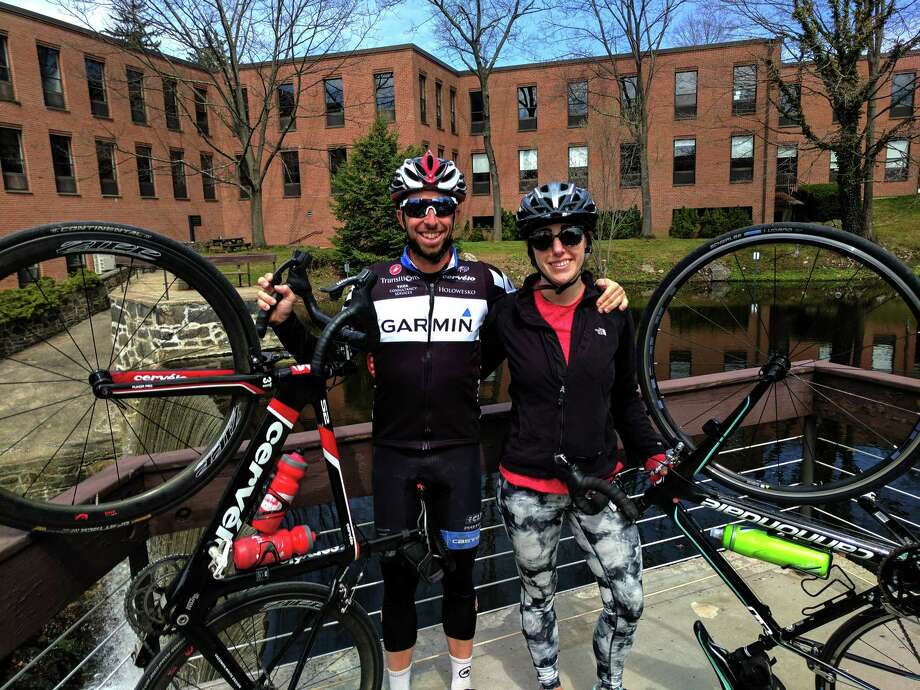 Old friends Tom Morningstar and Anna Desis ride their bikes all over and took a stop on Friday afternoon in Glenville for a quick break, taking advantage of the spring weather. Photo: Jennifer Turiano / Contributed Photo