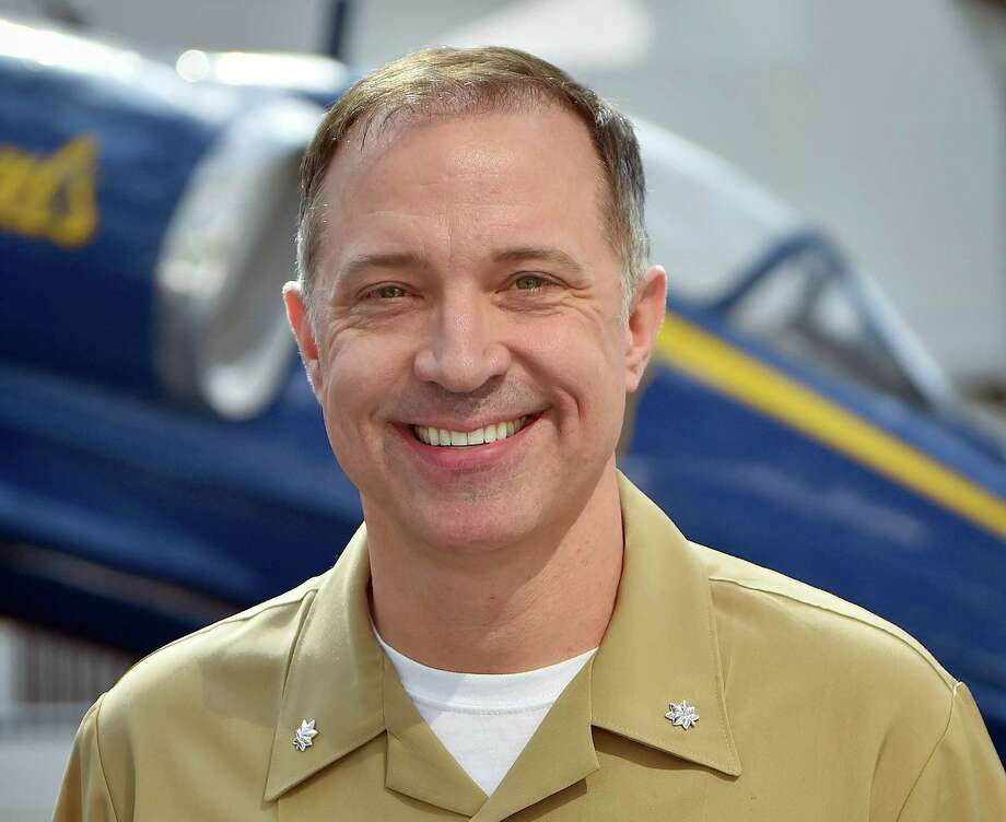 Cmdr. Eric Doyle, a native of League City, Texas, was selected to be the commanding officer for the U.S. Navy Flight Demonstration Squadron, the Blue Angels, during the 2018 and 2019 show seasons at the National Museum of Aviation onboard Naval Air Station Pensacola, Florida, April 4. Doyle will report for initial training in Pensacola in September and officially take command of the squadron at the end of the air show season in November. (U.S. Navy photo by Mass Communication Specialist 1st Class Daniel Young/Released) Photo: US Navy Blue Angels / US Navy Blue Angels