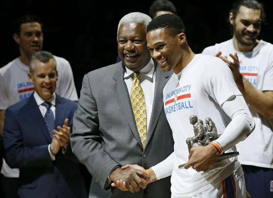 Oklahoma City Thunder guard Russell Westbrook, right, is congratulated by Oscar Robertson, left, on his triple-double record before an NBA basketball game between the Denver Nuggets and the Oklahoma City Thunder in Oklahoma City, Wednesday, April 12, 2017. (AP Photo/Sue Ogrocki) Photo: Sue Ogrocki, Associated Press