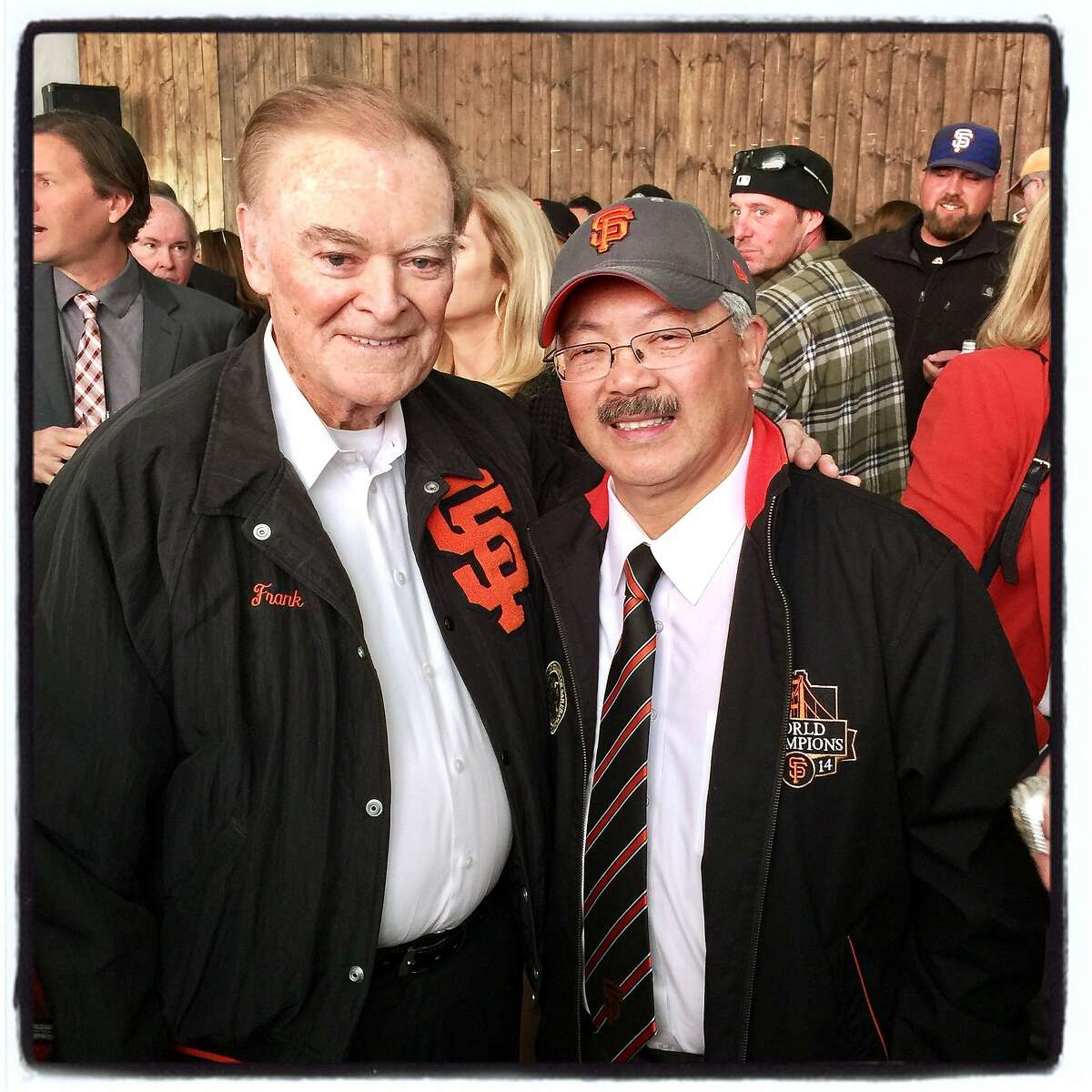 Former Mayor Frank Jordan (left) celebrates Giants opening day with Mayor Ed Lee at the ballpark on April 10, 2017. The former lost his home to a Sonoma County fire.