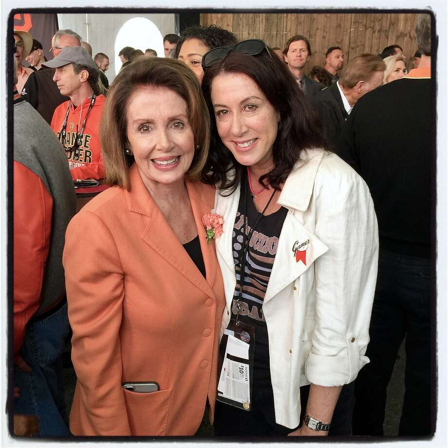 U.S. Rep. Nancy Pelosi (left) and her daughter, Christine Pelosi Kaufman, celebrate Giants opening day at AT&T ballpark. April 10, 2017. Photo: Catherine Bigelow, Special To The Chronicle