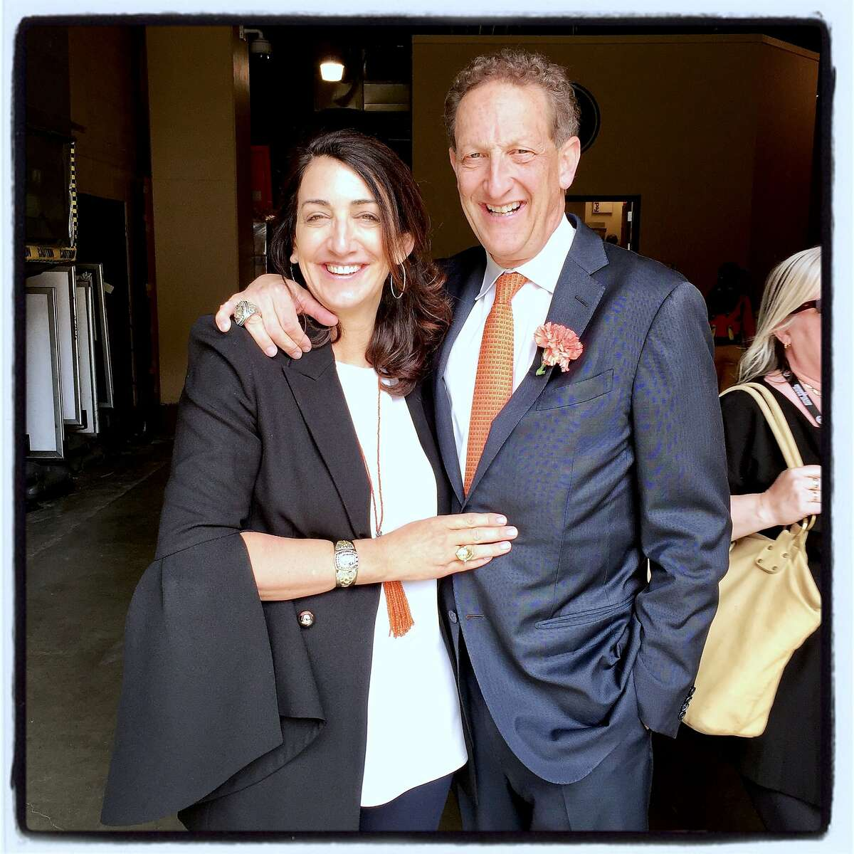 Pam Baer and her husband, Giants CEO Larry Baer, celebrate the team's home opener at AT&T ballpark. April 10, 2017.