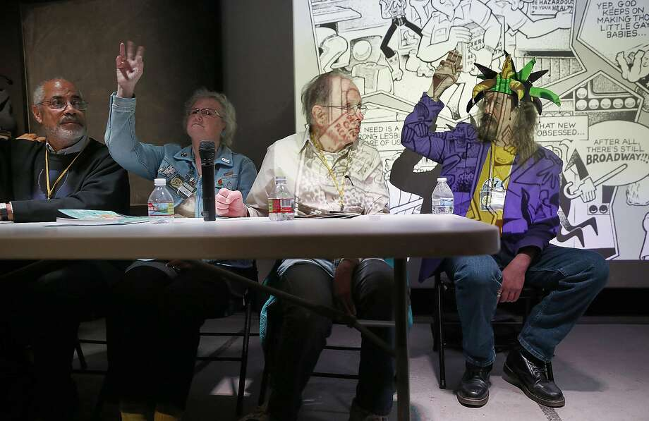 Left to right--Artists Burton Clarke, Lee Marrs, Howard Cruse, and Vaughn Frick are part of a panel discussing Queer Comics & Underground Comix during the Queers & Comics Conference at the California College of the Arts on Friday, April 14, 2017, in San Francisco, Calif. Photo: Liz Hafalia, The Chronicle