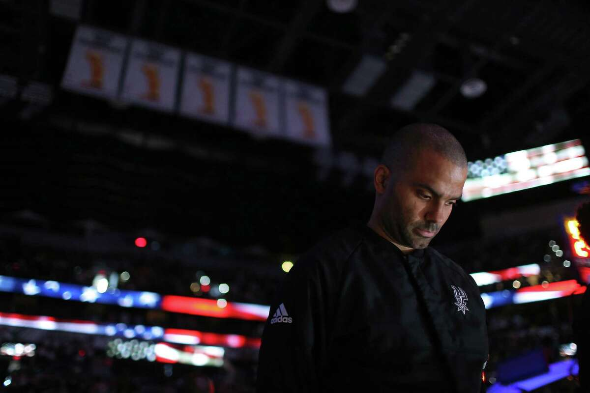 Spurs' Tony Parker stands during the national anthem before the game with the Utah Jazz on April 2, 2017 at the AT&T Center.