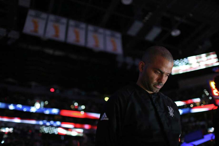 Spurs' Tony Parker stands during the national anthem before the game with the Utah Jazz on April 2, 2017 at the AT&T Center. Photo: Edward A. Ornelas /San Antonio Express-News / © 2017 San Antonio Express-News