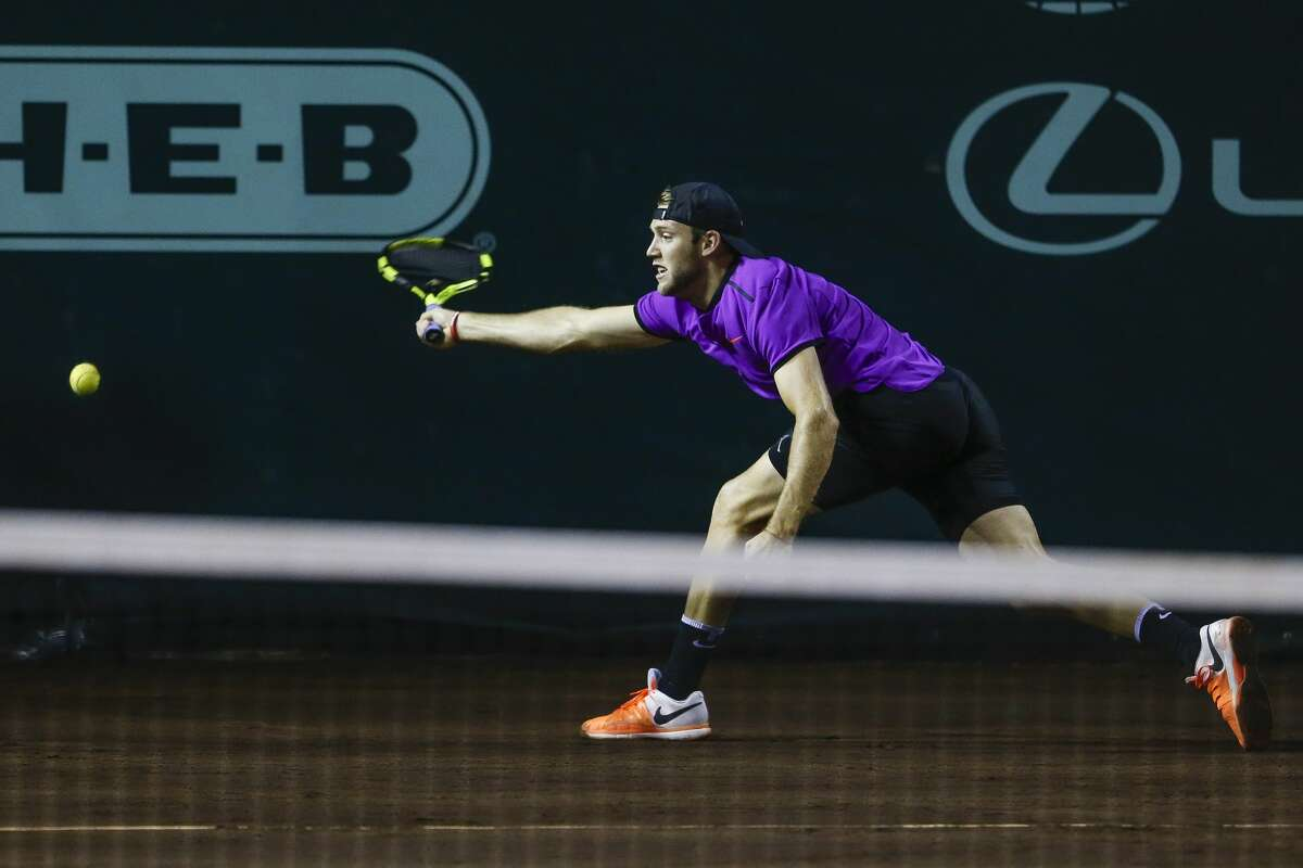 Jack Sock just misses the ball as he takes on Feliciano Lopez in the quarterfinals of the US Men's Clay Court Championship Friday, April 14, 2017 in Houston. ( Michael Ciaglo / Houston Chronicle)