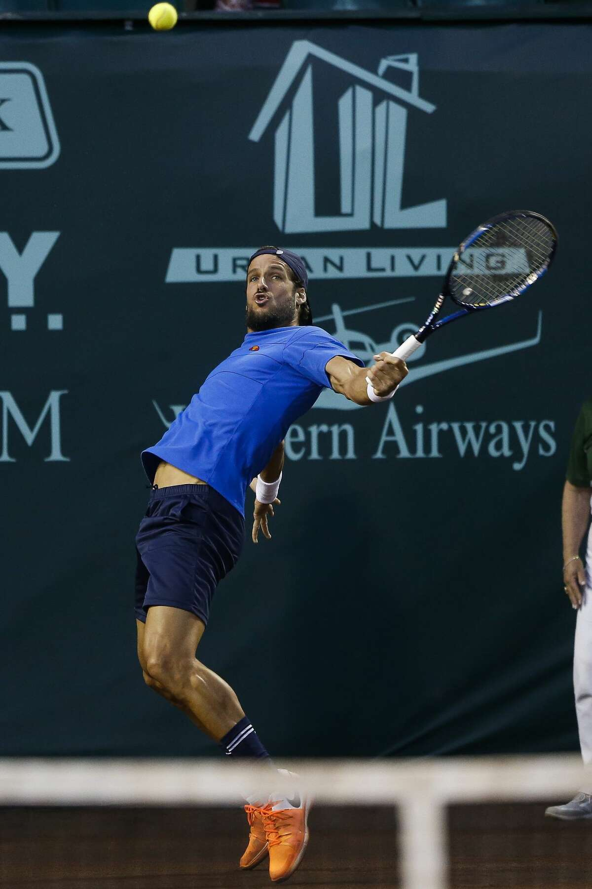 Feliciano Lopez returns the ball as he takes on Jack Sock in the quarterfinals of the US Men's Clay Court Championship Friday, April 14, 2017 in Houston. ( Michael Ciaglo / Houston Chronicle)