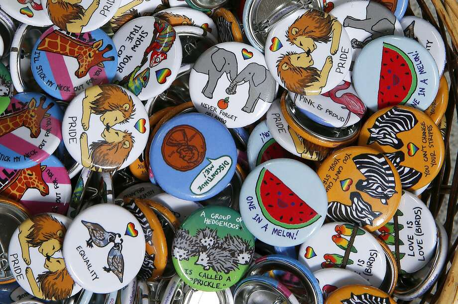 Buttons from Emily Kesselman at the Queers & Comics Conference at the California College of the Arts on Friday, April 14, 2017, in San Francisco, Calif. Photo: Liz Hafalia, The Chronicle