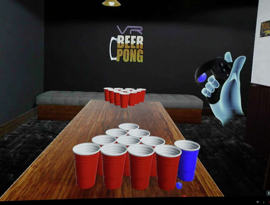 Screen shot of the new VR Beer Pong game created by Steve Lyons and his friend Warren Cooper, that they launched out of START Houston, Saturday, March 4, 2017, in Houston.  ( Karen Warren / Houston Chronicle ) Photo: Karen Warren, Staff Photographer / 2017 Houston Chronicle