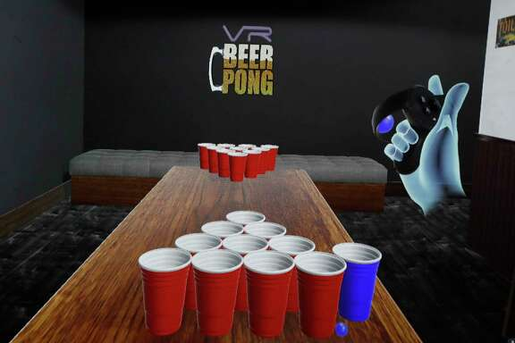 Screen shot of the new VR Beer Pong game created by Steve Lyons and his friend Warren Cooper, that they launched out of START Houston, Saturday, March 4, 2017, in Houston.  ( Karen Warren / Houston Chronicle )