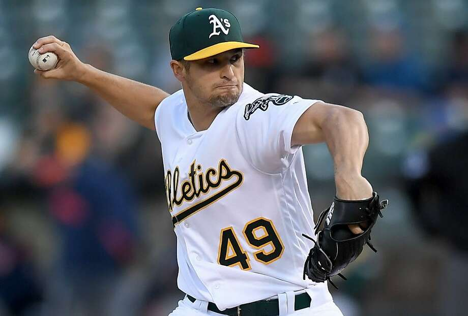 OAKLAND, CA - APRIL 14:  Kendall Graveman #49 of the Oakland Athletics pitches against the Houston Astros in the top of the first inning at Oakland Alameda Coliseum on April 14, 2017 in Oakland, California.  (Photo by Thearon W. Henderson/Getty Images) Photo: Thearon W. Henderson, Getty Images