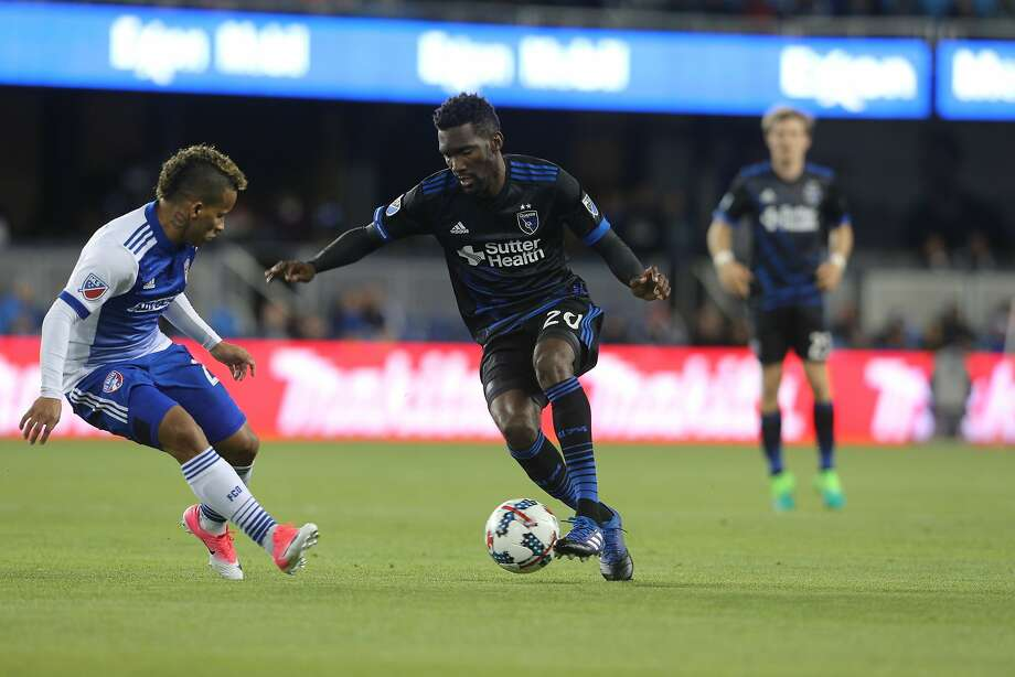 San Jose Earthquakes defender Shaun Francis dribbles the ball during the first half of a Major League Soccer game against FC Dallas at Avaya Stadium on Friday, April 14 in San Jose, Calif. Photo: ISI Photos