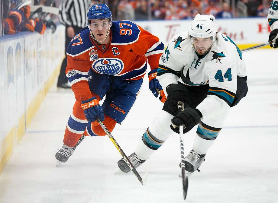 Defenseman Marc-Edouard Vlasic (44) leads the Sharks in points in the series, with two assists, while the Oilers have four players with two points, including Connor McDavid. Photo: Codie McLachlan, Getty Images