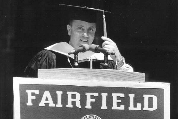 Speaker Billy Joel delivers an address to the Fairfield University Class of 1991, in May of 1991.