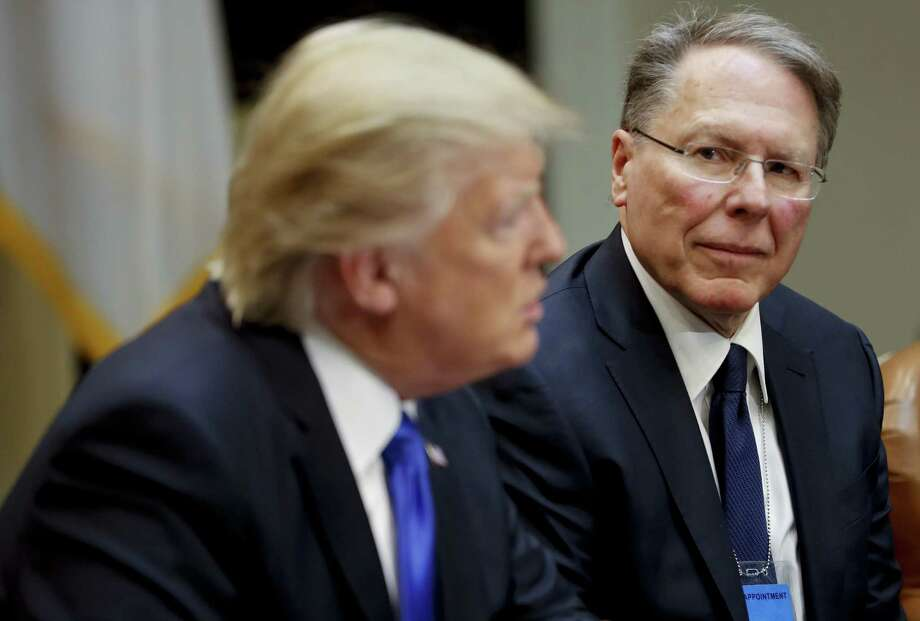 National Rifle Associations (NRA) Executive Vice President and Chief Executive Officer Wayne LaPierre with President Donald Trump in Washington, Wednesday, Feb. 1, 2017. Trump met with a group to discusses the nomination of Neil Gorsuch to the Supreme Court, setting up a fierce fight with Democrats over a jurist who could shape America's legal landscape for decades to come. Photo: Pablo Martinez Monsivais / Associated Press / Copyright 2017 The Associated Press. All rights reserved.