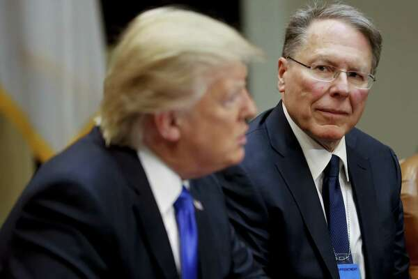 National Rifle Associations (NRA) Executive Vice President and Chief Executive Officer Wayne LaPierre with President Donald Trump in Washington, Wednesday, Feb. 1, 2017. Trump met with a group to discusses the nomination of Neil Gorsuch to the Supreme Court, setting up a fierce fight with Democrats over a jurist who could shape America's legal landscape for decades to come.