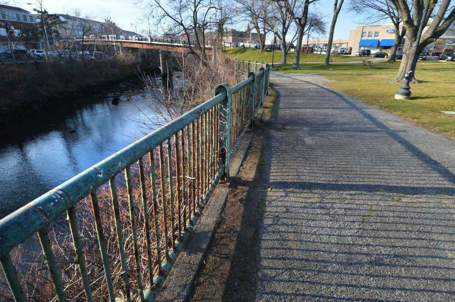 The pathway along the Norwalk River at Freese Park on Wednesday December 14, 2016, which is located at the corner of Wall and Main streets. Photo: Alex Von Kleydorff / Hearst Connecticut Media File