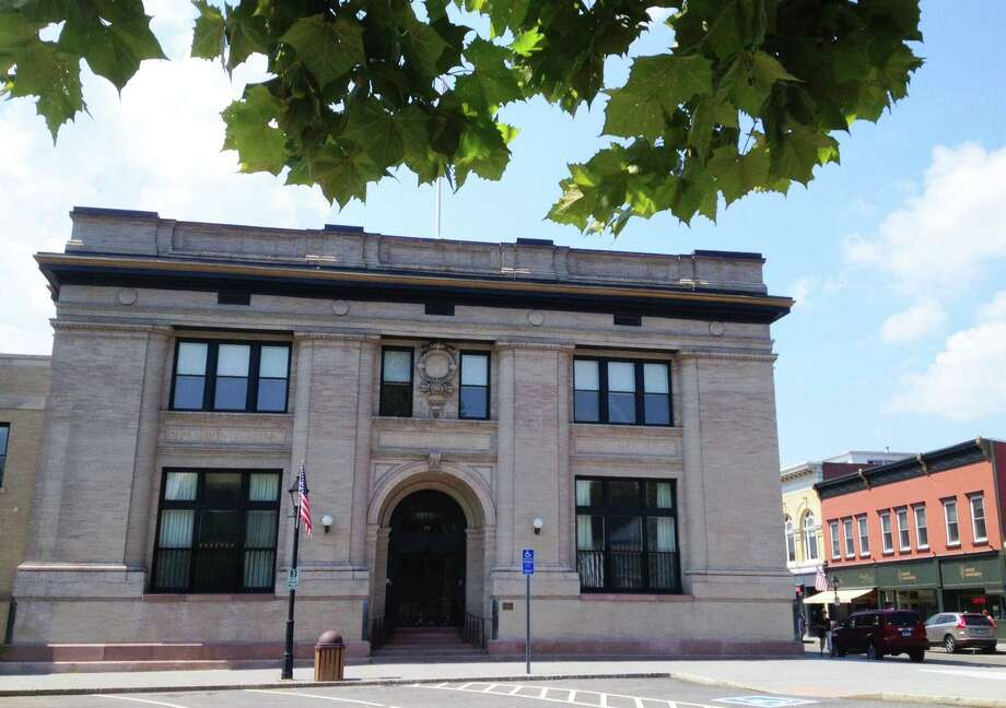 Now called the United Bank building, the historic bank edifice at the corner of Main and Bank streets in the New Milford village center has been renovated and restored to serve as the home to numerous businesses. August 2015 Photo: Norm Cummings / Contributed Photo / The News-Times